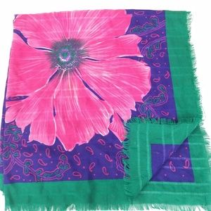 Accessories - Ladies Scarf Paisley Big Bold Pink Floral Purple P